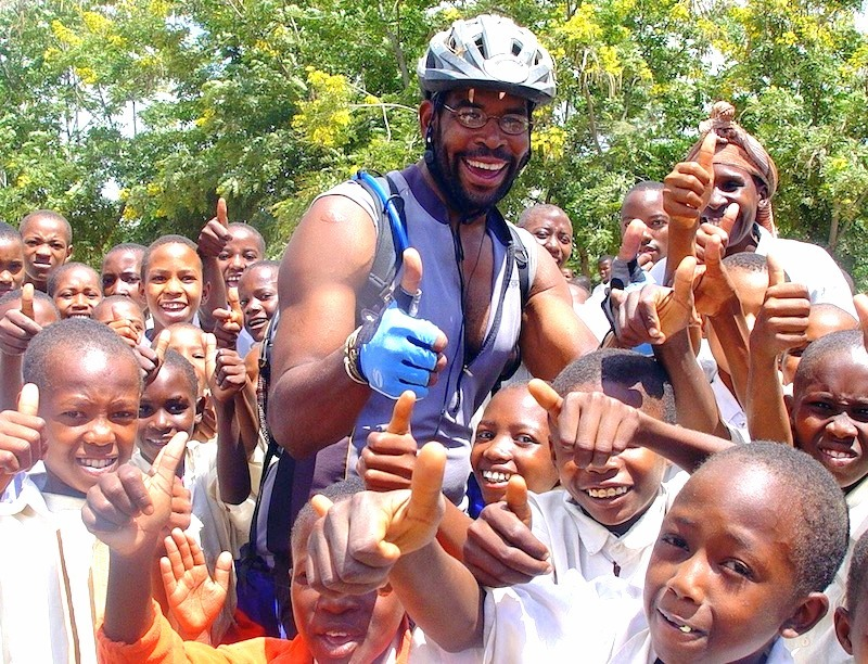 David on a bike tour in Africa.