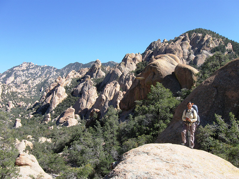 Photo of a hiker at the Desert in the Santa Teresa Mountains