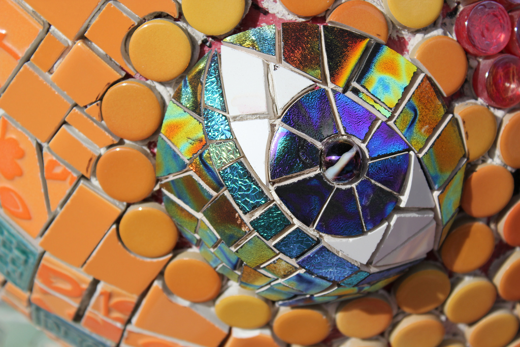 Close-up of the eye on the Maywood Park dragon mosaic