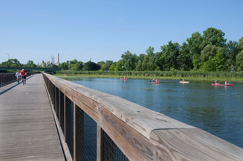 The floating towpath at Summit Lake Park