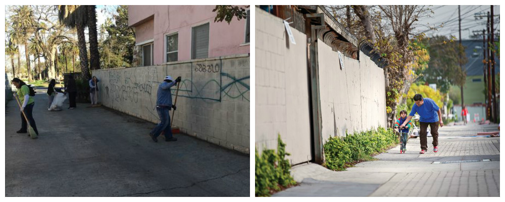 An unfinished alley on the left, a man and his son in a refinished alley on the right
