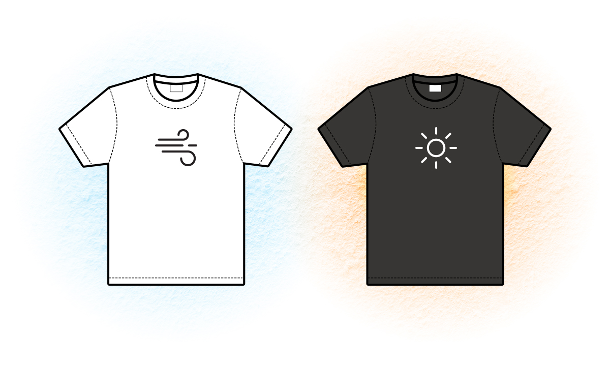 Graphic of a white t-shirt next to a black t-shirt