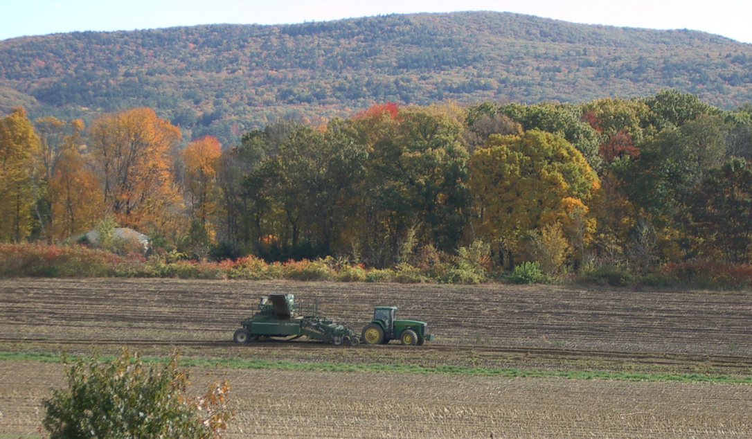 A tractor plows a field in front of a forested slope