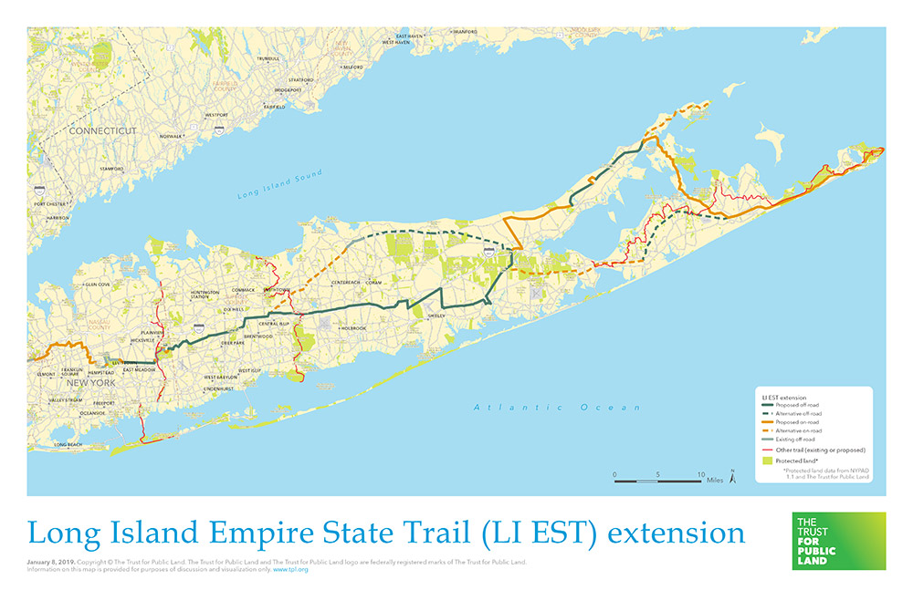 Map Of New York And Long Island.Long Island Extension Of The Empire State Trail The Trust For