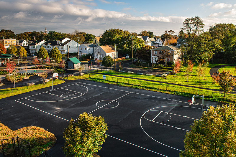 Photo of a basketball court
