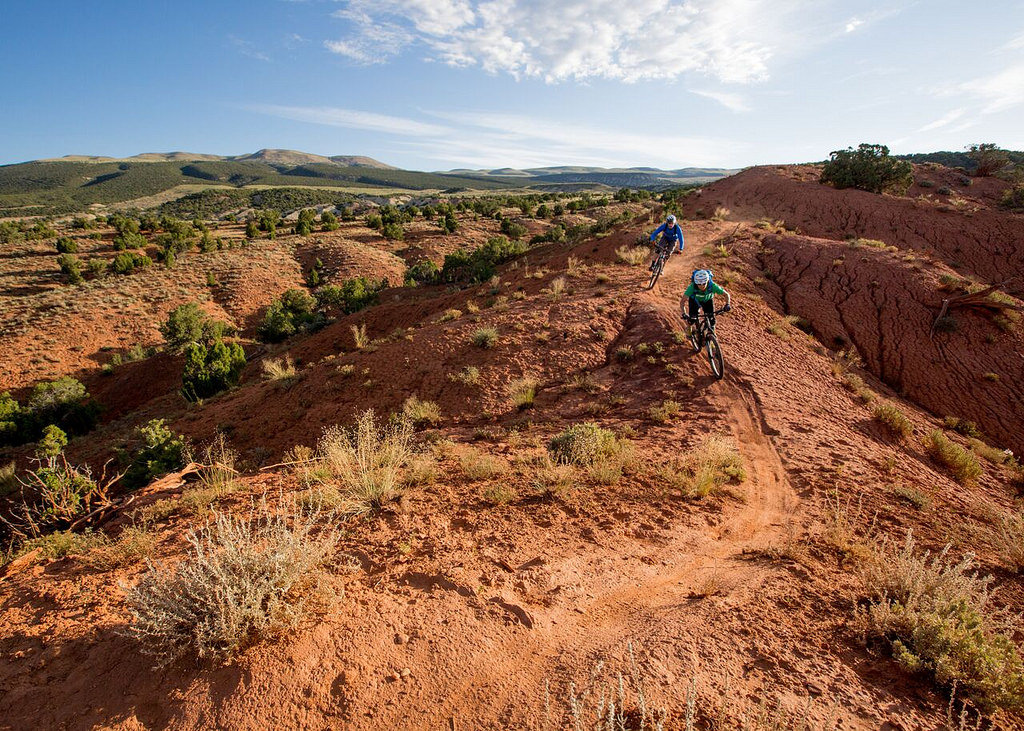 Two mountain bikers on a desert trail
