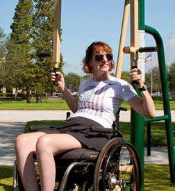 Jen French, silver medalist in the recent paralympic games, uses one of the new Fitness Zones.
