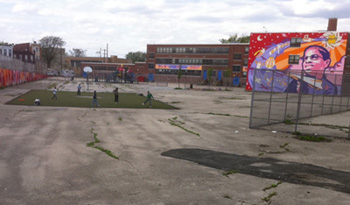 The current play area at William Dick Elementary School in Philadelphia