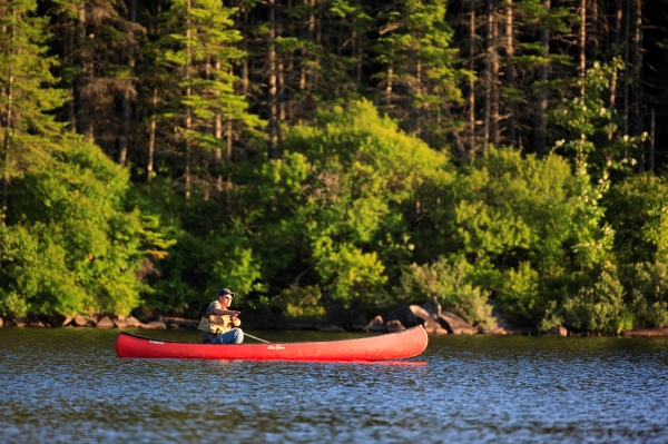 Fly-fishing from a canoe on Little Greenough Pond in Errol, NH. Northern Forest, Androscoggin Headwaters.