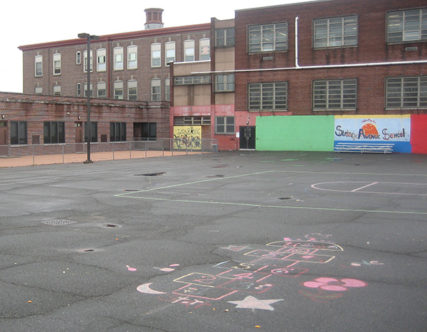Sussex Avenue Elementary School, before new playground.