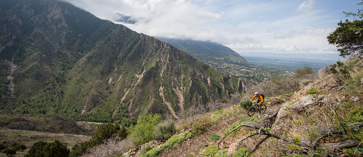 A mountain biker heads up a trail in Mill Creek, a part of the Bonneville Shoreline Trail project near Salt Lake City, Utah.
