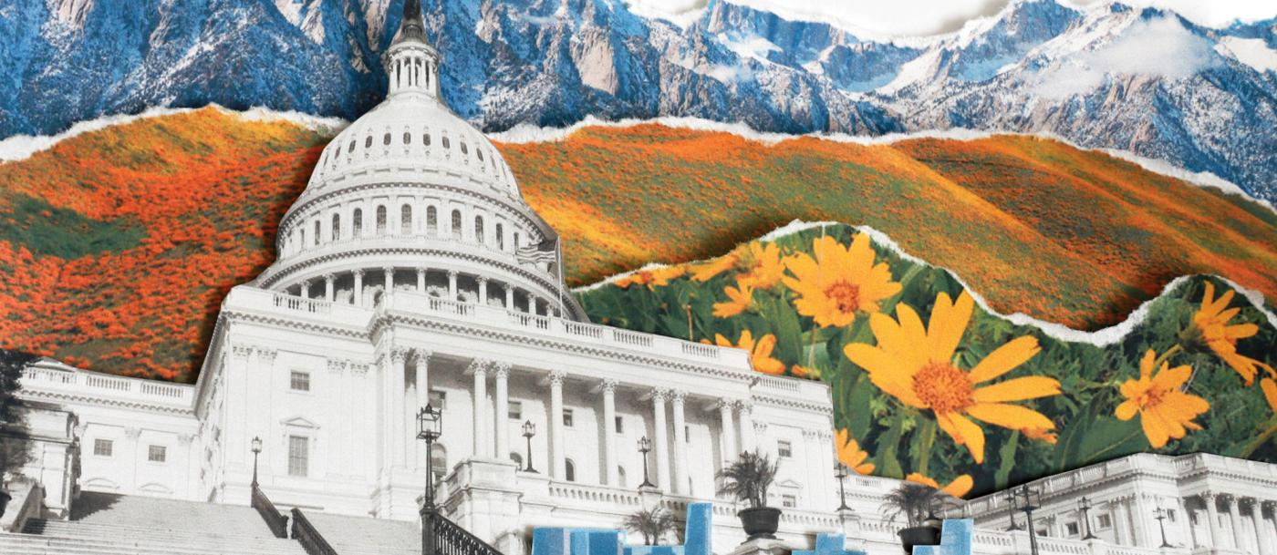 A collage of mountains with the U.S. Capitol in the foreground
