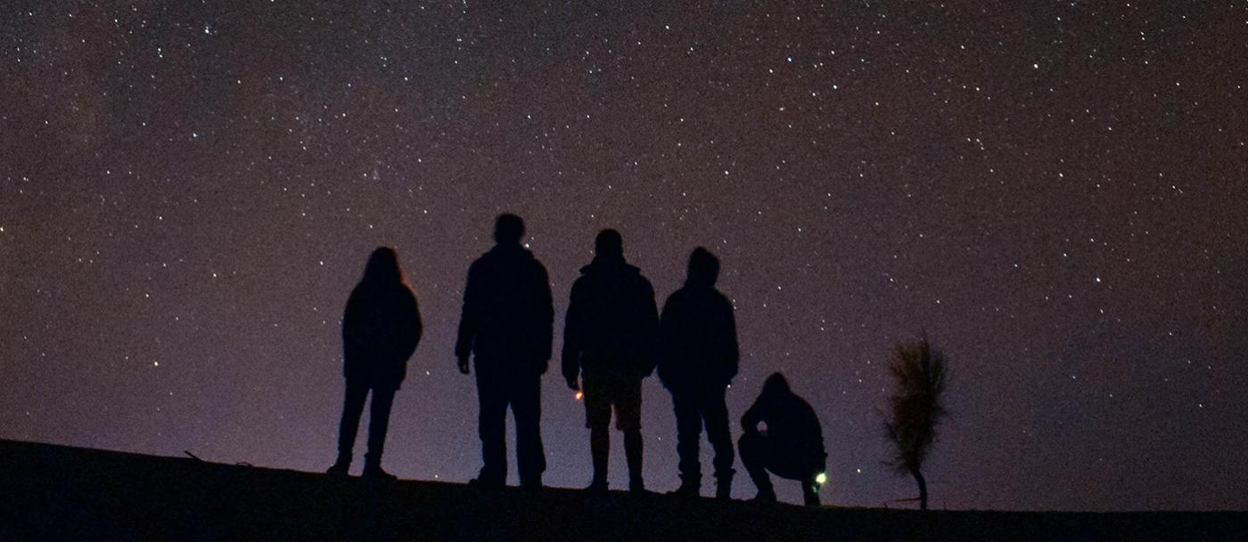 Silhouettes of people look at the night sky
