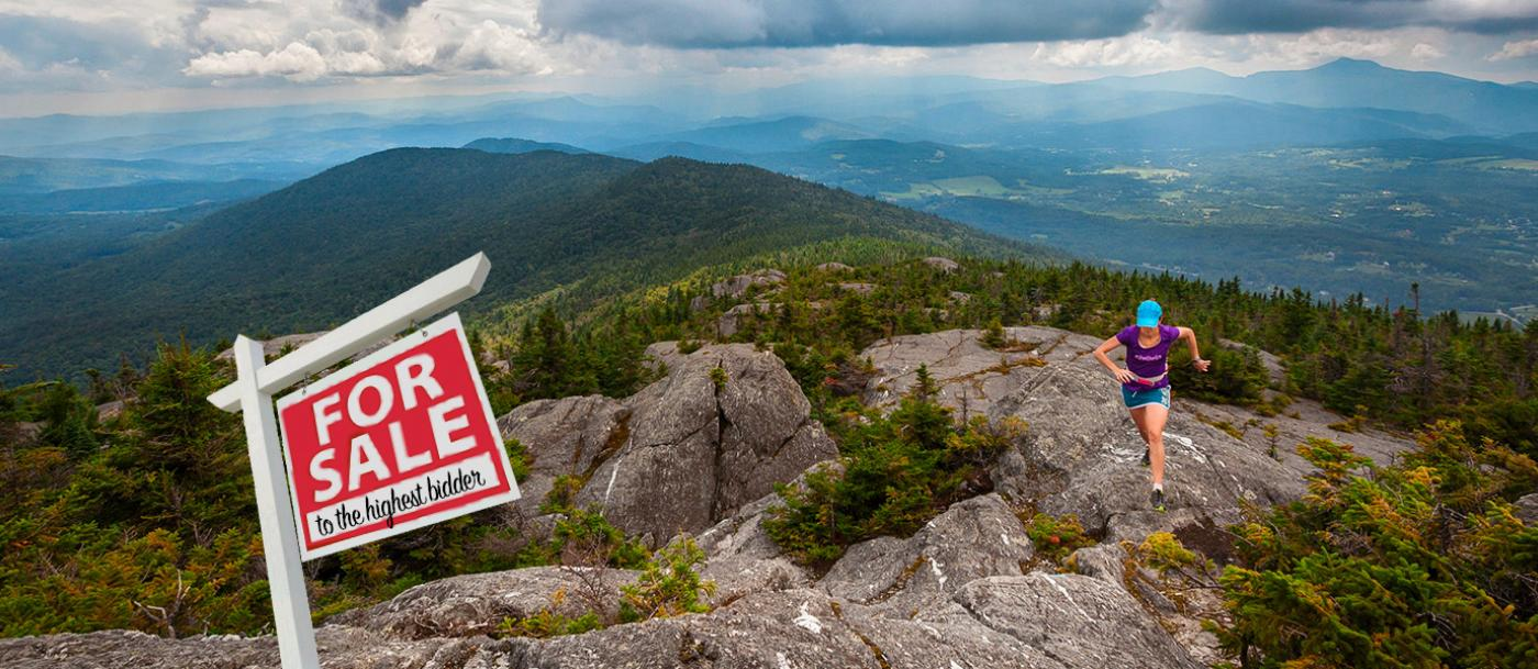 A trail runner ascending at the Hunger Mountain Headwaters Patterson Brook project in Vermont