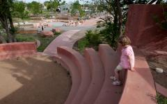 Amphitheater in the childrens' play area at Santa Fe Railyard Park and Plaza, Santa Fe, NM.  Amphitheater in the childrens' play area at Santa Fe Railyard Park and Plaza, Santa Fe, NM.