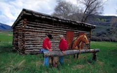 Ranchers at the restored Pony Express Station at Peaceful Valley Ranch on the eastern border of the Wasatch Mountains   Ranchers at the restored Pony Express Station at Peaceful Valley Ranch on the eastern border of the Wasatch Mountains