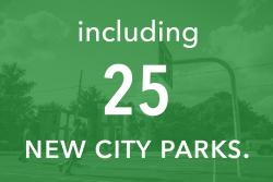 including 25 new city parks.