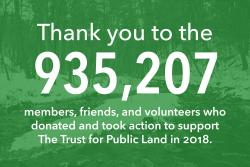 Thank you to the 935,207 members, friends, and volunteers who donated and took action to support The Trust for Public Land in 2018.