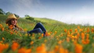 A woman sits in a field of wildflowers