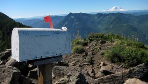 Mailbox on a mountain with Mount Rainier in the background