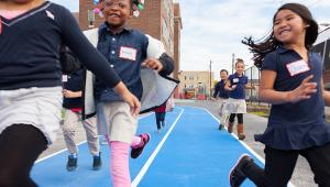 Testing out the new playground at John H. Taggart Elementary School