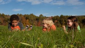 Children laying in the meadow at Hudson Farm in Hanover, NH.
