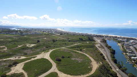 Aerial image of Banning Ranch and the Pacific Ocean