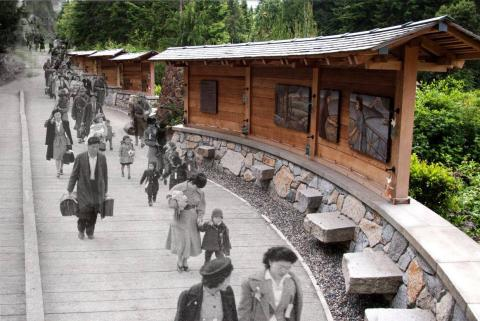 Composite image of the Bainbridge Island Japanese American Exclusion Memorial, and a historical photograph of residents being removed