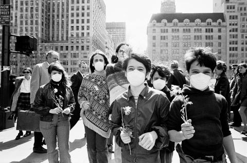 School kids in dust masks demonstrate at the first Earth Day 1970