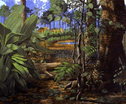 Artist's rendering of the late Cretaceos period, a jungle scene