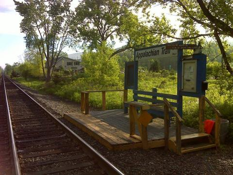 A train platform at the Appalachian Trail