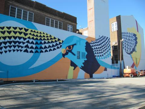 Falcon mural at Lafayette Street School