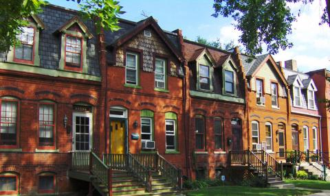 Brick row houses in Pullman