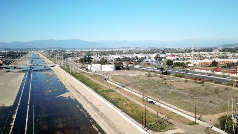 Aerial view of Urban Orchard in South Gate, California