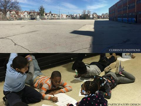Photo of current school yard conditions and kids designing and drawing pictures
