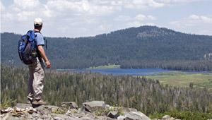View of Webber Lake and Lacey Valley in Tahoe National Forest, California.