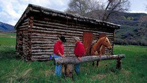 Ranchers at the restored Pony Express Station at Peaceful Valley Ranch, eastern border of the Wasatch Mountains