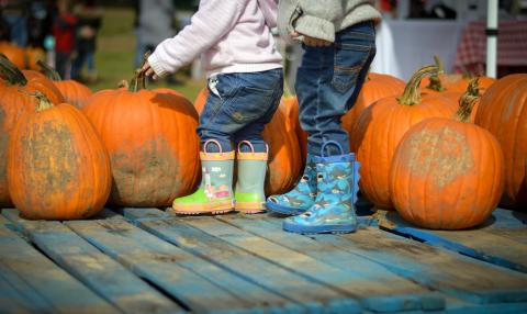 Kids rain boots in front of pumpkins