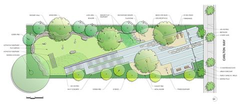Carlton Way Pocket Park design schematic