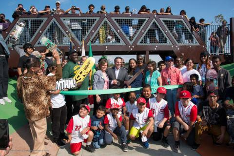 Los Angeles City Councilmember Joe Buscaino at the ribbon-cutting for Watts Serenity Park