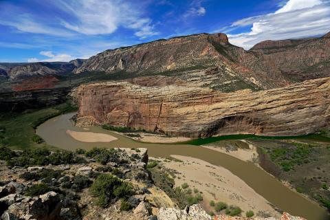 View from the cliffs over the confluence of the Green and Yampa rivers