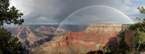 A double rainbow over the Grand Canyon