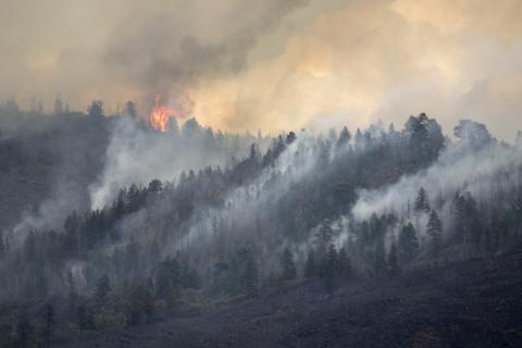 Lake Christine forest fire burns on Basalt Mountain in Colorado