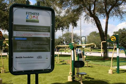 The new Fitness Zone equipment in Azalea Park in west St. Petersburg, FL