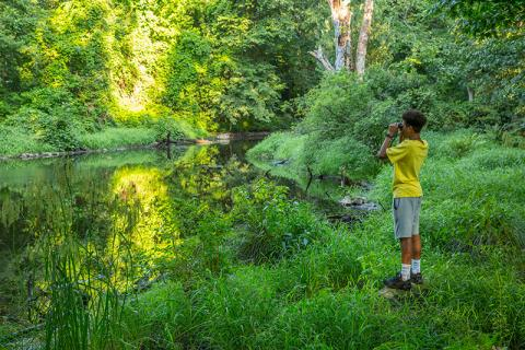 Photo of a kid with a yellow shirt and binoculars at Silvermine Fowler Preserve
