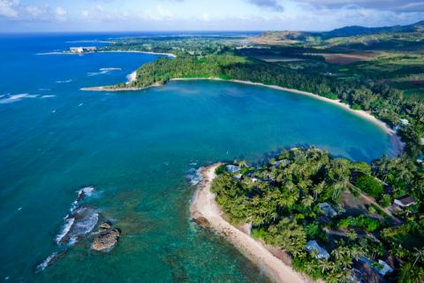 Aerial photo of Kawela Bay, Hawaii
