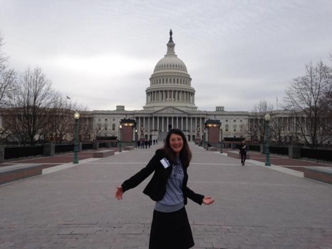 Liz Thomas in front of the U.S. Capitol Building
