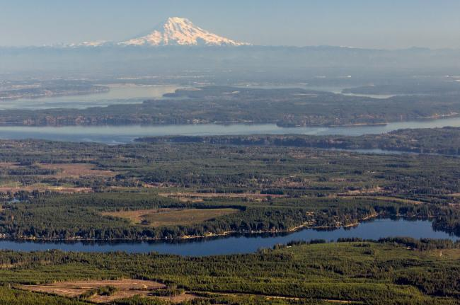 Aerial of south Puget Sound region with Mt. Rainier on the skyline