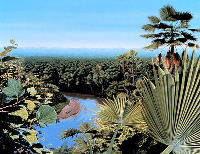 Artist's rendering of the Denver basin following the Cretaceous-Tertiary extinction