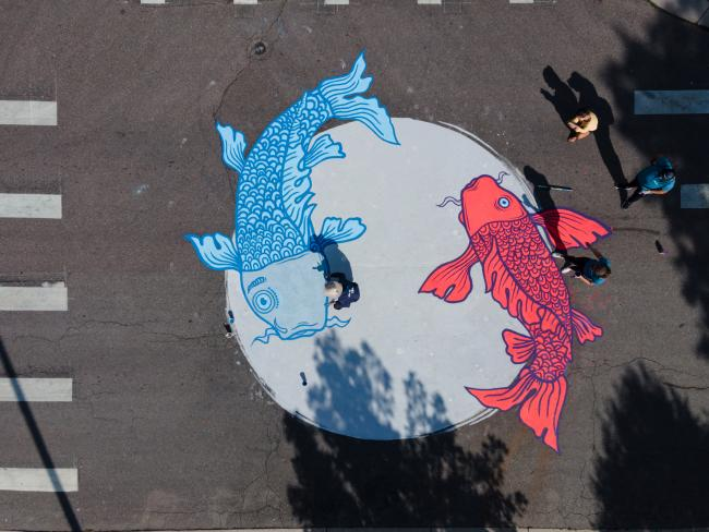 Aerial view of ground mural of koi fish in Westwood, Denver, Colorado